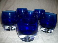 cobalt blue drinking glasses for table setting | ... Cobalt Blue/Clear Air Bubble - Beverage/Drink ing Glass Tumblers