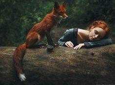 알렉산드라 Bochkareva에 의해 붉은 여우와 빨간 머리의 놀라운 꿈 같은 초상화