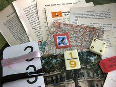 Destash Collage-Mixed Media-Altered Art-Journal-Smash-Ephemera Inspiration Kit (small) RutabagaStuff  on Etsy $4.00