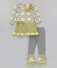 Look what I found on #zulily! Gray & Yellow Pleated Tunic & Leggings - Toddler & Girls #zulilyfinds