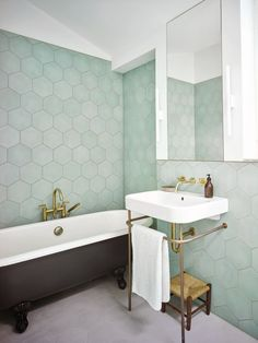 Bathroom with large hexagonal Bert & May tiles in mint, with traditional roll top bath and washstand Hexagon Tile Bathroom, Bathroom Flooring, Hexagon Tiles, Bathroom Large Tiles, Modern Bathroom, Small Bathroom With Bath, Pastel Bathroom, Mint Bathroom, Bath Tiles