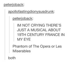 Phantom of the Opera and Les Miserables << Anyone notice this was Peter Joback? Like what the actual fuck? Broadway Theatre, Musical Theatre, Broadway Shows, Musicals Broadway, Theatre Nerds, Theater, Les Miserables, Nos4a2, It's Over Now