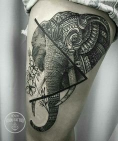 Tribal elephant tattoo art design
