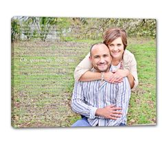 Get the groom and bride to be a custom photo & word art canvas for an engagement gift.