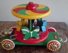Vintage Pull Toy Wooden Carousel by Brio by FingerLakesFinds,