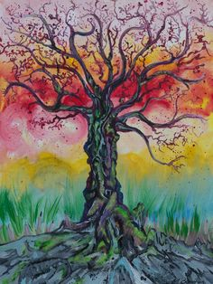 """Wisdom Tree"" Acrylic on canvas http://melissaburgher.com/"