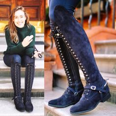 Blue suede Bia boots for ?Strictly for riding or just… - Best Equitation Horse Equestrian Outfits, Equestrian Style, Equestrian Fashion, Equestrian Boots, Horse Riding Boots, Fashion Looks, English Riding, Long Boots, Blue Suede