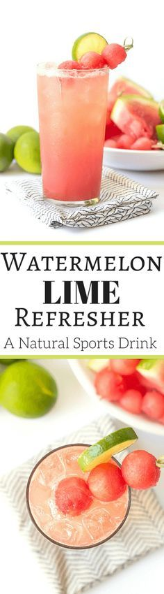 Watermelon Lime Refresher - A natural sports drink! | http://wickedspatula.com