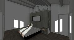 Interieur ontwerp slaapkamer met badkamer element.