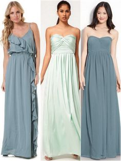 bridesmaid dresses dress on left. Bright coral or dark teal