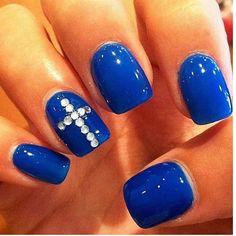 Blue Cross Nails