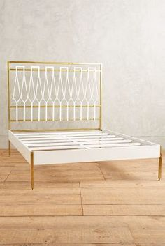 Slide View: Balustrade Bed Add white boards to edge of brass bed Unique Furniture, Furniture Decor, Bedroom Furniture, Furniture Design, Unique Bed Frames, Dressing Chair, Brass Bed, Copper Bed, Iron Balcony