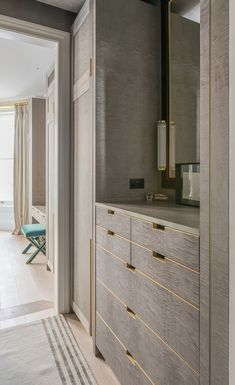 Classic interior in rich bold colors in Notting Hill, London. Bespoke made grey sycamore wardrobes, gentleman's dressing area and storage. Wardrobe Door Designs, Wardrobe Design Bedroom, Wardrobe Doors, Closet Designs, Closet Bedroom, Home Decor Bedroom, Bedroom Kids, Modern Bedroom, Master Bedroom