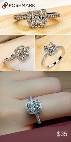 Cushion Cut Ring Brand new. High quality AAA cubic zirconia  and silver plated. Actual ring is in second photo Jewelry Rings