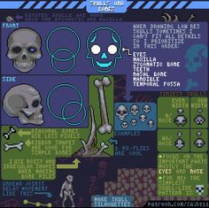 """Saint 11 on Twitter: """"New Monday #pixelart #tutorial! This one is about skulls! See more tutorials and support this series here: https://t.co/buw3dF8BTd https://t.co/I27aAsnOc6"""""""