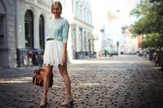 I love the skirt with the gold belt! And it's great with the shoes. Love this outfit.