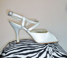 Vintage Wedding Style - PETER FOX Bridal Shoes - White Satin Strappy Slingback Heels & Rhinestone Buckle.