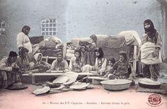 Plain of Harput. Armenian women and girls making bread.  http://www.houshamadyan.org