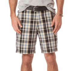 Chaps Plaid Flat-Front Shorts - Men