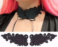 Dress up in dramatic style with this freestanding lace choker design! Stitch out both lace pieces on heavy duty water-soluble stabilizer, rinse to leave just the lace, and then assemble into a necklace. Size listed is for one lace piece. Lace Corset, Choker Lace, Machine Embroidery Projects, Hand Embroidery, Lace Art, Urban Threads, Bobbin Lace, Lace Design, Sexy Outfits