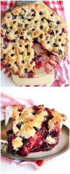The Berry Best Four Berry Pie Recipe on foodiecrush.com