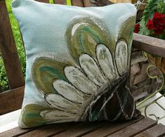 New! Large Flower, Sage, Blue, Indoor, Outdoor Cushions, Spring and Summer, Patio, Porch Swing, Pillow Cover, No. 340