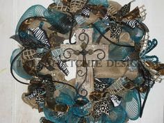 Burlap And Turquoise Deco Mesh Wreath  Deco by TallahatchieDesigns, $79.00 Burlap Cross, Deco Mesh Wreaths, Burlap Wreaths, Turquoise, Cross Wreath, Wired Ribbon, Wood Crosses, Easter Wreaths, How To Make Wreaths
