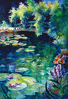 This is a Tom Lynch watercolor art! Lotus Kunst, Lotus Art, Watercolor Artists, Watercolor Landscape, Watercolor Paintings, Watercolours, Lily Painting, Composition Art, Lily Pond