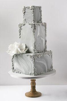 Top 20 Luxury Vintage Baroque Wedding Cakes Marble and bas-relief wedding cake Creative Wedding Cakes, Beautiful Wedding Cakes, Gorgeous Cakes, Creative Cakes, Square Wedding Cakes, Wedding Cake Designs, Grey Wedding Cakes, Square Cakes, Wedding Bands
