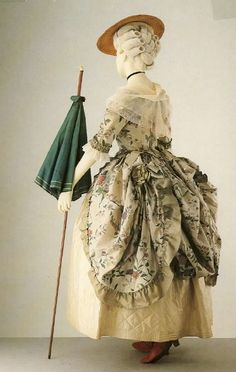 Polonaise gown, painted silk from the Vic & Al museum, 1780s.