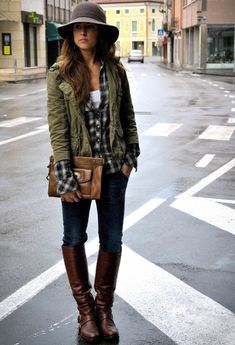 Military jacket with plaid shirt layers