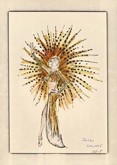 "A Robert G. Mackie and Ray Aghayan costume design drawing of a gold and black showgirl costume for the show ""Hallelujah Hollywood!"" at the MGM Grand Hotel in Las Vegas, 1974.  Image is part of UNLV Libraries ""Showgirls"" digital collection."