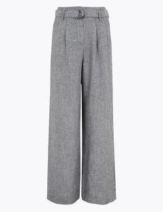 Linen Trousers, Wide Leg Trousers, Pantalon Large, Trouser Outfits, Who What Wear, Autumn Fashion, Belt, Pure Products, How To Wear