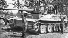 "Panzerkampfwagen VI ""Tiger I"" Ausf.E (Sd.Kfz. 181) Nr. 312 Schwere Panzer Abteilung 502.  Resupplied with ammunition for KwK 36 L / 56 8.8 cm gun (92 rounds of ammunition in the fighting compartment).  Near Lake Ladoga, Russia August 1943."