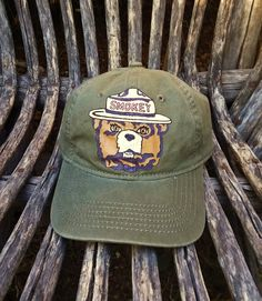 0781f045c15 Hand painted Smokey Bear green denim camping forest ranger baseball hat by   bleudoor on Instagram