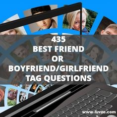 Check out our enormous list of tag questions. These fun questions are great for your best friend, boyfriend, girlfriend or your crush. Girlfriend Tag Questions, Best Friend Tag Questions, List Of Questions, This Or That Questions, Relationship Games, Relationship Questions, Relationships Love, Bffs, Your Best Friend