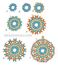 Free pattern for beaded pendant Cinnamon U need: super duo or twin seed beads seed beads bicone beads 6 mm Beading Patterns Free, Seed Bead Patterns, Beaded Bracelet Patterns, Beading Tutorials, Free Pattern, Weaving Patterns, Embroidery Bracelets, Crochet Patterns, Mosaic Patterns
