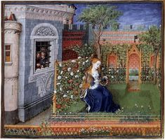 The perfect image of a medieval rose garden.
