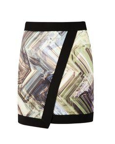 LUCILIA   Parquet geo print wrap skirt - Dark Green   Skirts   Ted Baker