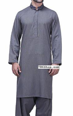 Grey Men Shalwar Kameez Suit | Buy Pakistani Indian Dresses