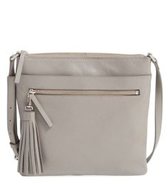 grey crossbody bag with tassel