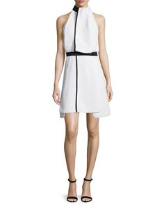 Drape-Front+Two-Tone+Dress,+Black/White+by+Victoria+by+Victoria+Beckham+at+Neiman+Marcus.
