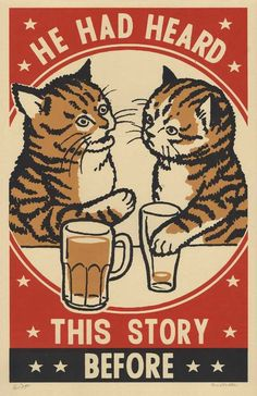 Three color screen print by Arna Miller & Ravi Zupa, featuring fun and whimsical images of cats drinking at bars. Available for purchase online through Spoke Art Gallery. Drunk Cat, Arte Punk, Spoke Art, Art Cart, Matchbox Art, Cat Posters, Here Kitty Kitty, Vintage Cat, Screen Printing