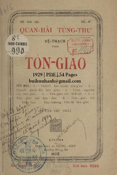 Tôn Giáo (NXB Tiếng Dân 1929) - Vệ Thạch, 54 Trang | Sách Việt Nam Bring It On, Bullet Journal