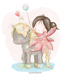 Children Illustration - Nursery - Little Girl on A Unicorn - May All Your Dreams Come True