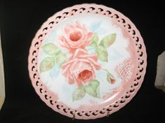 Pink Rose Plate with enamel scrolling Gold by PorcelainChinaArt