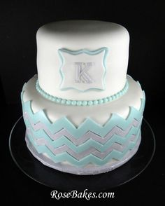 Pale Blue & Gray Chevron Baby Shower Cake with Monogram & Pearls.  See more pics here: http://rosebakes.com/chevron-baby-shower-cake-mongram-baby-boy/