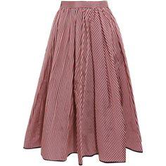 TOME Striped taffeta midi skirt (1.360 BRL) ❤ liked on Polyvore featuring skirts, bottoms, midi skirt, saias, taffeta skirt, high-waisted skirt, high waisted midi skirt, high waist skirt and taffeta midi skirt