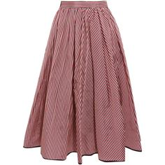 TOME Striped taffeta midi skirt (1,920 BAM) ❤ liked on Polyvore featuring skirts, red, high waisted knee length skirt, taffeta midi skirt, midi skirt, high waisted midi skirt and stripe skirt