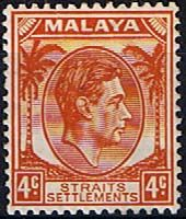 Straits Settlements 1938 King George VI Head    Fine Mint                    SG 294 Scott 239A    Other Asian and British Commonwealth Stamps HERE!